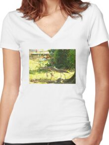 Curlews and young at Wonga Beach, North  Queenland Women's Fitted V-Neck T-Shirt