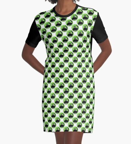 Cartoon seamless pattern with cute black cats Graphic T-Shirt Dress