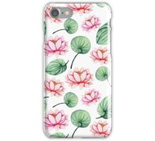Watercolor Light Red and Pink Water Lily and Leaves iPhone Case/Skin