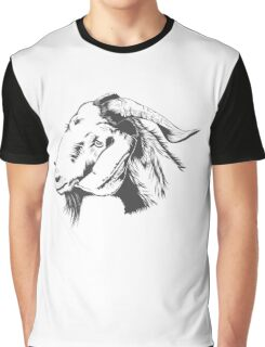 fUNNY Lovely Cute Goat Sketched Graphic T-Shirt
