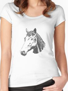 Cute Lovely Sketched Horses Women's Fitted Scoop T-Shirt