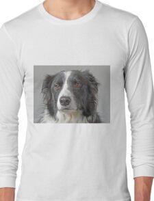 Border Collie Dog Portrait Long Sleeve T-Shirt