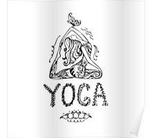 Girl in lotus yoga pose Poster