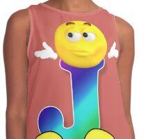 Letter J Alphabet Smiley Monogram Face Emoji Shirt for Men Women Kids Contrast Tank