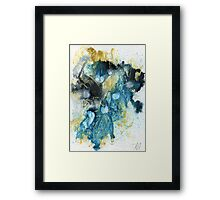 Yellow, blue and black abstract  Framed Print