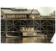Port of Echuca and Paddlesteamer. Poster