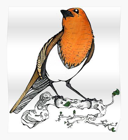 Fernando the Bird ( Erithacus rubecula ) Poster