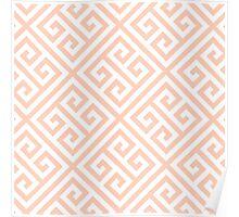 Modern,greek key pattern, pale peach, white,modern,trendy,pattern Poster