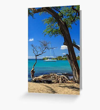 A Sailboat In Anaehoomalu Bay Greeting Card
