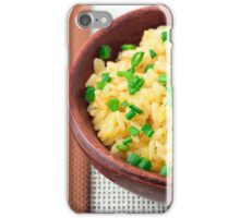 Wooden bowl of cooked rice and vegetables iPhone Case/Skin