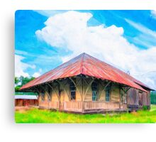 Railroad Blues - Old Train Station In Rural Lilly, Georgia Canvas Print