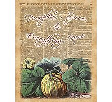 Pumpkin , Spice , And Everyting Nice Thanksgiving Dictionary Art  Photographic Print