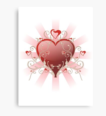 Valentine Love - Big Shiny Heart Gold Scroll T-shirt Canvas Print