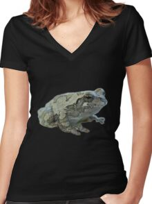 Gray tree frog Women's Fitted V-Neck T-Shirt
