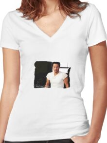 My Kind Of Man (Keanu Reeves Portrait) Women's Fitted V-Neck T-Shirt