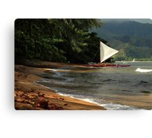 A sailboat In Hanalei Bay Canvas Print