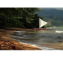 A sailboat In Hanalei Bay Photographic Print