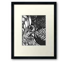 Abstract Hand Drawn Surreal Flower Looking Design Framed Print