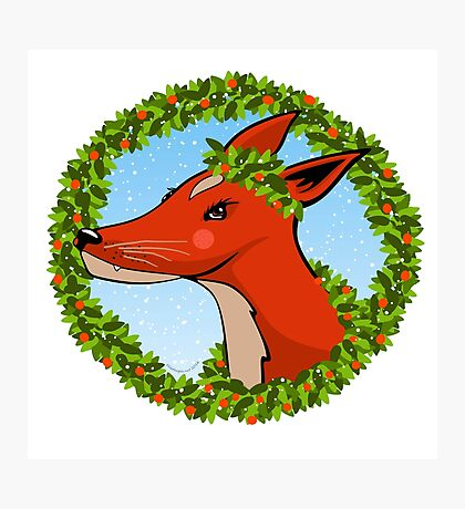 Holiday Fox Wreath Photographic Print