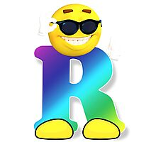 Letter R Alphabet Smiley Monogram Face Emoji Shirt for Men Women Kids Photographic Print