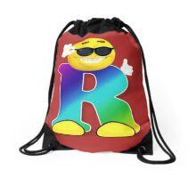 Letter R Alphabet Smiley Monogram Face Emoji Shirt for Men Women Kids Drawstring Bag