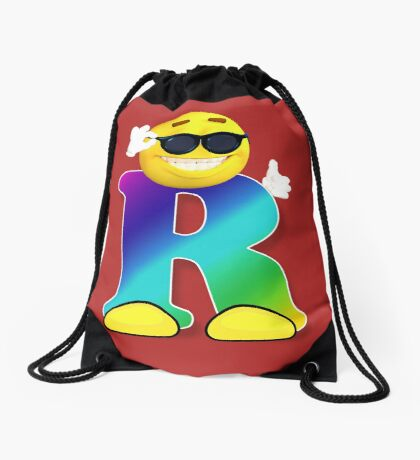 Letter R Alphabet Smiley Monogram Face Emoji Shirt for Men Women Kids Drawstring Bag