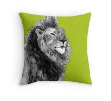 Black and White Hand Drawn Lion Design Throw Pillow