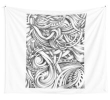 Escher Like Abstract Hand Drawn Graphite Gray Depth Wall Tapestry