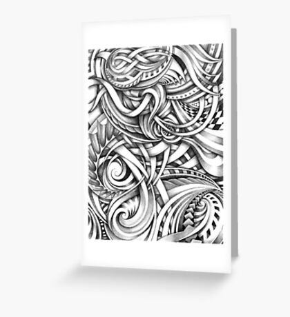 Escher Like Abstract Hand Drawn Graphite Gray Depth Greeting Card