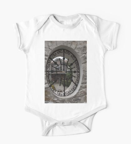 Elliptic View - Beautiful Home Through a Fence Window One Piece - Short Sleeve