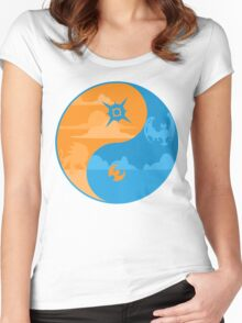 Sun and Moon Yin and Yang Color Women's Fitted Scoop T-Shirt