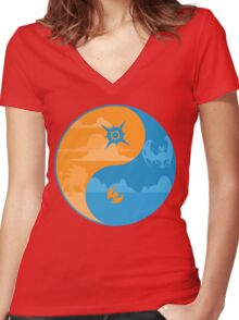 Sun and Moon Yin and Yang Color Women's Fitted V-Neck T-Shirt