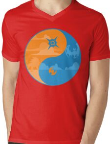 Sun and Moon Yin and Yang Color Mens V-Neck T-Shirt