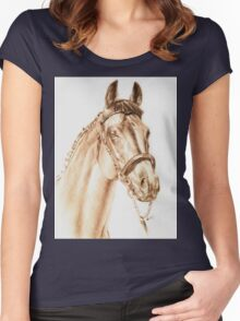 Thoroughbred Horse Portrait Women's Fitted Scoop T-Shirt