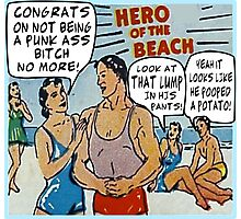 Funny Comic Book Ads: Hero of the Beach Photographic Print