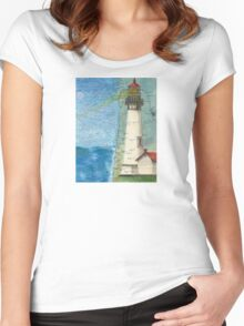Yaquina Head Lighthouse OR Chart Cathy Peek Women's Fitted Scoop T-Shirt