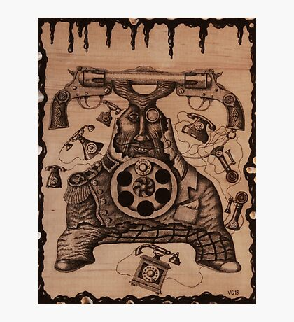 Communication ink pen drawing on wood Photographic Print