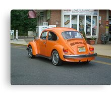 Classic VW Bug in Bright Orange Canvas Print