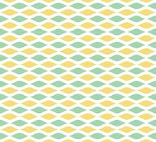 Mint and Yellow Ogee Pattern - Modern - Fresh - Lemon Yellow by PatternPrint