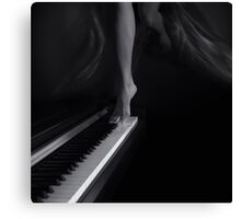 Woman legs dancing on piano Black and white art photo print Canvas Print