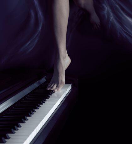 Woman legs dancing on piano art photo print Sticker