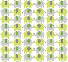 Gray and Green Elephants - Baby Animal - Kids - Children by PatternPrint