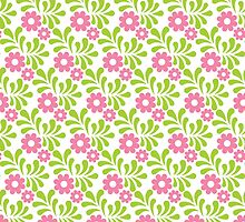 Green and Pink Floral - Lime Green - Flower Pattern by PatternPrint