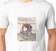 Cobra pose celebrates the open heart with Rumi Unisex T-Shirt
