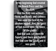In The Beginning, God Created The Bench Press Canvas Print