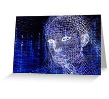 Woman digital face conceptual 3D illustration art photo print Greeting Card