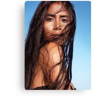 Sensual beauty portrait of young exotic woman with long wet dark hair art photo print Canvas Print