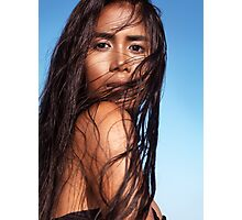 Sensual beauty portrait of young exotic woman with long wet dark hair art photo print Photographic Print