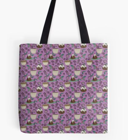 Figgy Plum Pudding Christmas Dessert Purple Repeat Tote Bag