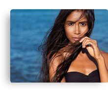 Beautiful woman portrait with long wet dark hair against blue sea water art photo print Canvas Print